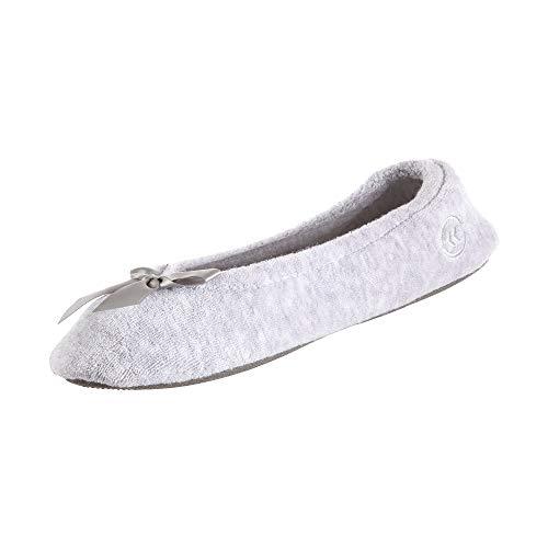 isotoner Ballerines femme en tissu éponge avec nœud pour le confort intérieur/extérieur US (Isotoner Women's Terry Ballerina Slipper With Bow for Indoor/Outdoor Comfort) - Gris chiné, size: 5-6
