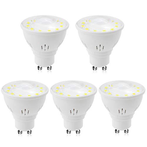DoRight 5 Stück automatische GU10 2 W LED Infrarot-Bewegungsmelder-Lampen Tageslicht 6000 K Bewegungserkennung Glühbirnen Auto On/Off Nachtlampen 20 W entspricht für Treppen, Garage, Flur, WC