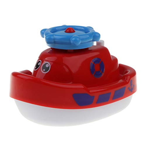 SM SunniMix Baby Bath Toys Spray Water Boat Battery Operated Spray Water Pump Fountain - Red