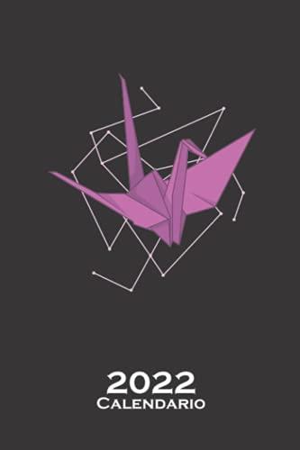 Grulla de origami como papel Calendario 2022: Calendario anual para Abanicos japoneses de papel plegado