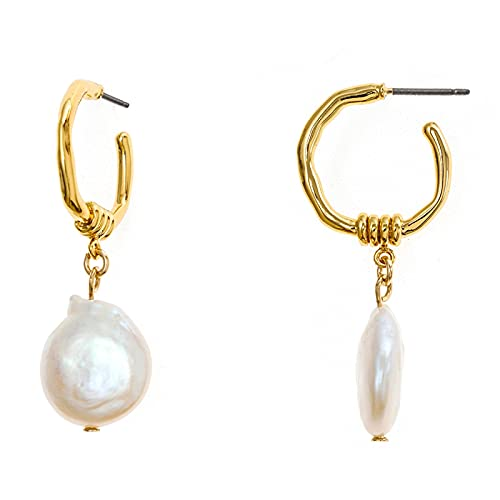 DFDLNL Pendientes de aro Pendientes de Perlas barrocos Pendientes de aro pequeños de Oro Vintage para Mujer Regalo de Festival