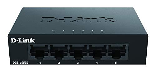 D-Link DGS-105GL 5-Port Unmanaged Gigabit Switch (ohne Lüfter, Low Profile Metallgehäuse, Desktop, Plug-and-Play, QoS, 802.3az EEE)