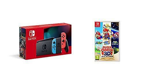 Nintendo Switch - Consola Estándar, Color Azul Neón/Rojo Neón + Super Mario 3D All-Stars