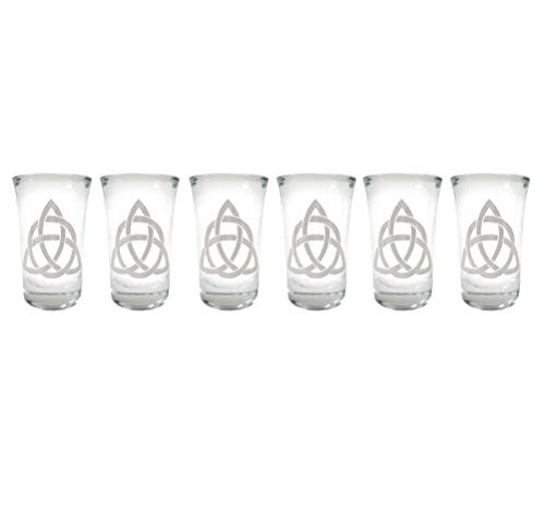 Celtic Trinity Knot Engraved Shot Glass Set of 6 - Free Personalized Engraving