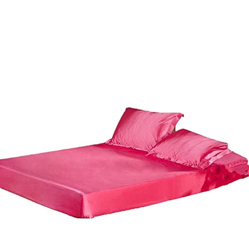 PPOOLLK La Suave Seda Satinada de Color sólido está Equipada con Hojas de Cama elásticas rellenas de Rosa roja de Gran tamaño_180x200cmx25cm.