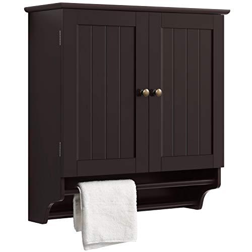 Topeakmart Bathroom Wall Cupboard, Over Toilet Organizer Space Saver Kitchen Doule Door 2 Hanging Bars, Espresso