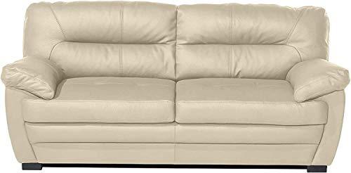Mivano 3er-Sofa Royale / Zeitlose, bequeme Ledercouch mit hoher Rückenlehne / 190 x 86 x 90 / Lederimitat, Beige