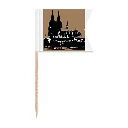 Deutschland Kölner Dom Europäische Zahnstocher Flaggen Kennzeichnung für Party Kuchen Lebensmittel Käseplatte