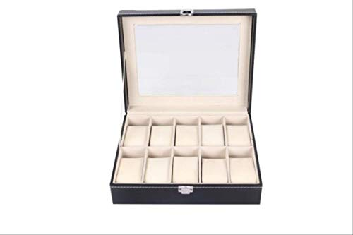 Biaolang Caja De Reloj Caja De Almacenamiento De Joyas 10 Personas (25 * 20 * 8cm) Negro