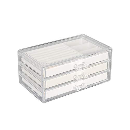 caja organizadora de joyas Joyería caja de acrílico transparente de tres capas de cajón Capacidad extra grande de la joyería pendientes del collar de la caja de almacenaje del estilo simple organizado