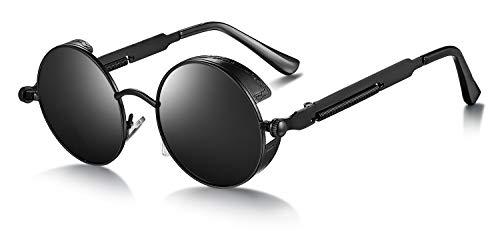 WHCREAT Retro Ronde Steampunk Gepolariseerde Zonnebril Reliëfpatroon Brillen voor Heren Dames