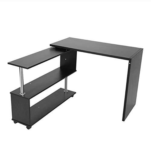 Asbjxny 360 Grad drehbarer L-förmiger Eckcomputer-Schreibtisch mit Bücherregal-Hauptschreibtisch-Handelsmöbeln@Schwarz