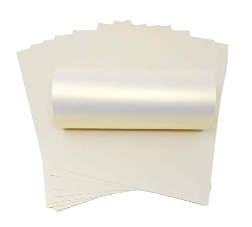 Syntego 10 Blatt elfenbeinfarbenes Eisgold Haze Perlglanz, doppelseitig, A4, dekorative Karte, 300 g/m²