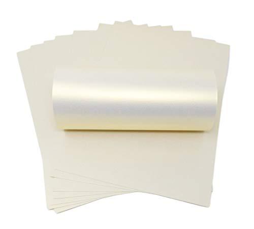 Syntego 10 Blatt elfenbeinfarben Ice Gold Haze Perlglanz-schimmernd doppelseitig A4 Dekokarton 300 g/m²