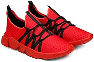 KT Traders Solid Reguler Mesh Lace-Up On Style for Easy Sport Shoes (KT Traders-16-Red-6)