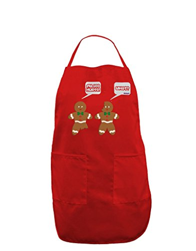 Funny Gingerbread Conversation Christmas Dark Adult Apron - Red - One-Size