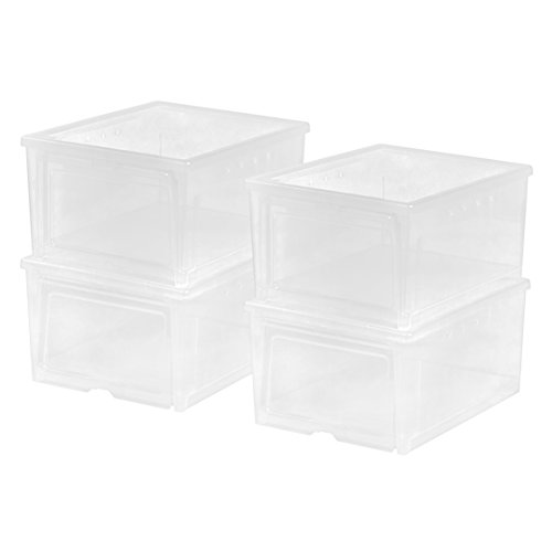 IRIS USA, Inc. 586430 IRIS Easy Access Men's Shoe Box, 4 Pack, Wide, Clear