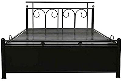 A1 Star Furniture Home Decor Furniture Queen Size Metal Bed with Foam Mattress Hydraulic Storage (Texture Finish, Black)
