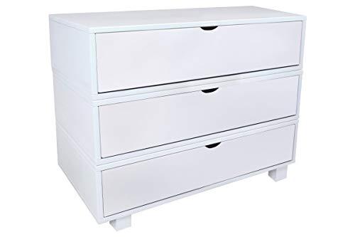 ABC MEUBLES - Kommode Boxen 3 schubladen - COMCUBLB - Weiß