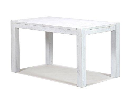 Esstisch 140x80cm Rio Bonito Shabby White Pinie Massivholz Tisch Weiss Vintage Used- Look für Esszimmer Wohnzimmer Büro oder Küche