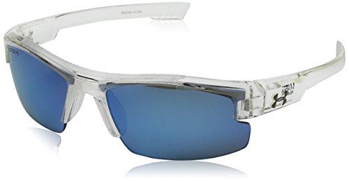 Under Armour Kid's Nitro L Sunglasses, Storm Shiny Clear / Gray Polarized Blue MirrorLens, 59 mm