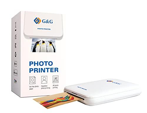 G&G Mini Pocket Photo Printer GG-PP023 Fotodrucker mit AR Photos 5 x selbstklebendes Zink Fotopapier, Sticker, App für IOS und Android Smartphones, Bluetooth, Sofortdruck, tintenfrei, (Drucker Solo)