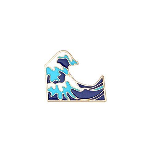 Broches Y Alfileres para Niña,Moda Arcoíris Esmalte Solapa Pines De Dibujos Animados Frutas Comida Mezcla Broches Insignias Mochila Pines Lindos Regalos para Amigos Joyería,Ola
