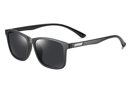SKILEC Gafas de Sol Polarizadas Hombre Mujer - Gafas para Ciclismo, Running, Deporte, Conducir, MTB, Golf, Bicicleta etc. Gafas de Sol Mujer, Gafas de Sol Hombre Protección 100% UV400 (Negro/Negro)