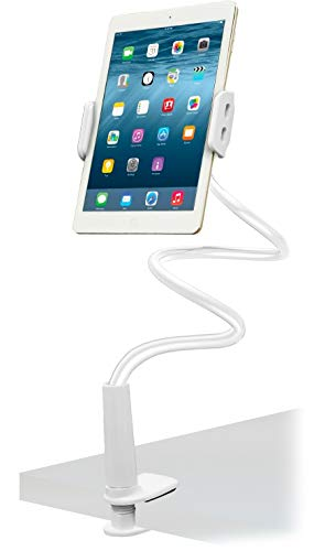 Aduro Solid-Grip iPad Stand Holder 360 Adjustable Universal Gooseneck Lazy Tablet Stand for Desk – Swivel Durable Rubberized Video Mount for Recording Holder (White)