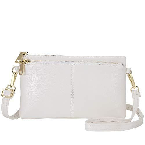 Triple Zip Small Crossbody Bag Lightweight Purses Vegan Leather Wristlet Clutch, Includes Adjustable Shoulder (White)
