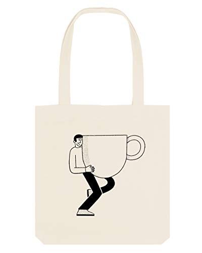 CAFE CONCETTO - Wiederverwendbare Einkaufstasche – nachhaltig, umweltfreundlich (Natur/Schwarz, klein)