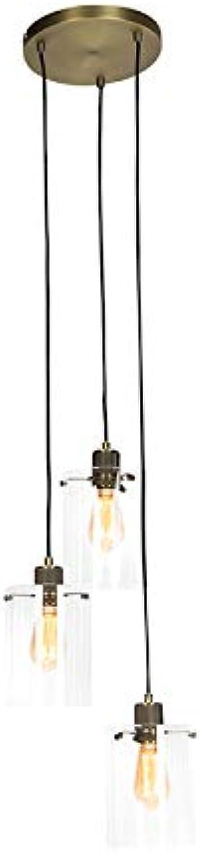 QAZQA Modern Moderne Hngelampe Bronze mit Glas 3-flammig-Lichtern - Dome Innenbeleuchtung Wohnzimmerlampe Schlafzimmer Küche Stahl Zylinder Lnglich Rund LED geeignet E27 Max. 3 x 40 Watt
