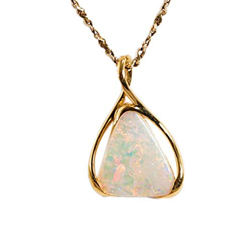 Gold FIRE Dance 18KT Gold Natural SOLID Australian White Crystal Opal Necklace