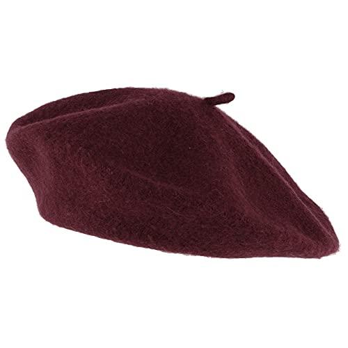 Hat To Socks Einfarbige Baskenmütze aus Wollgemisch für Damen und Herren (Burgunder)