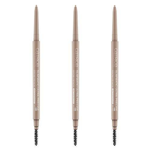 Catrice Slim'Matic Ultra Precise Brow Pencil Waterproof, Kajal, Nr. 015 Ash Blonde, braun, definierend, volumengebend, langanhaltend, matt, vegan, wasserfest, 3er Pack (3 x 0,05g)