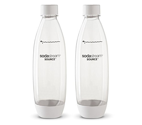 Sodastream 1l Carbonating Bottles - Fit to Source/Genesis deluxe Makers (Twin Pack) (White) by SodaStream