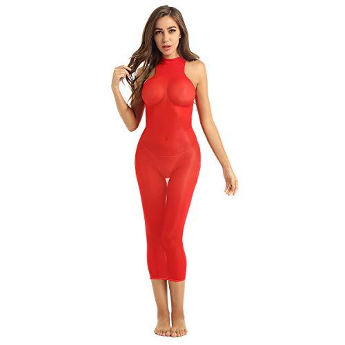 Yeahdor Damen Nylon Kleid Transparent Dessous Ouvert Body Stockings Minikleid Maxikleid Erotische Unterwäsche Sexy Negligee Rot C One Size