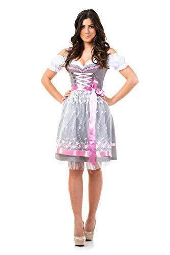 Trachtl.de DIRDNL Trachtenkleid Damen Sarah IN GRAU 3.TLG 42