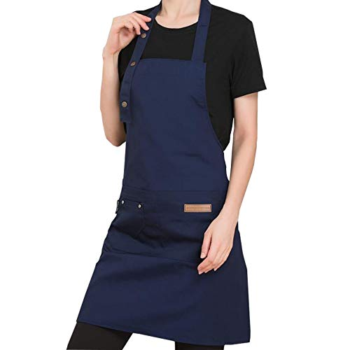 PASSDIGY Chef Kitchen Cooking BBQ Grill Apron With Pockets for Women Men, Waterproof Canvas plus size apron, cute personalized Works Baking artist server 3 Button Adjustable Apron M-XL (Blue)