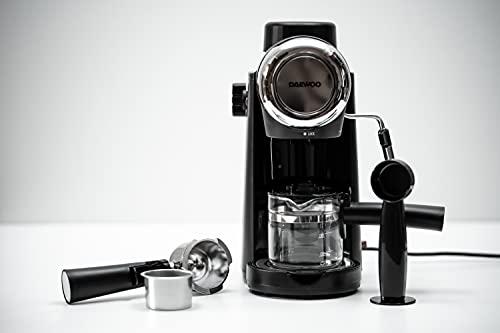 DAEWOO DES-484 Cafetière expresso | Machine à café 2 & 4 tasses | Tube à mousse de lait | Machine à expresso, capuccino, latte 800W