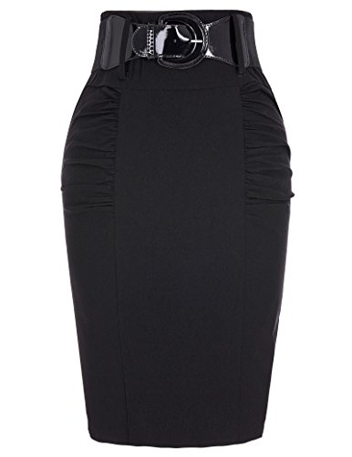 Belle Poque Slim Fit Business Pencil Skirt Wear to Work Skirts Black, Small KK271-1