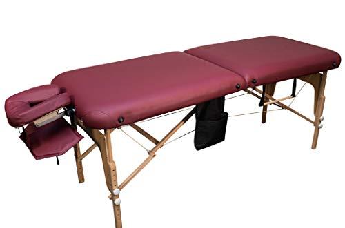 MASSUNDA COMFORT DELUXE Massage-Liege klappbar und höhenverstellbar – 185x71 cm breiter & mobiler Massagetisch aus Vollholz mit Flanellbezug, Arm- und Rückenlehne, Nackenkissen, Kopfstütze (burgund)