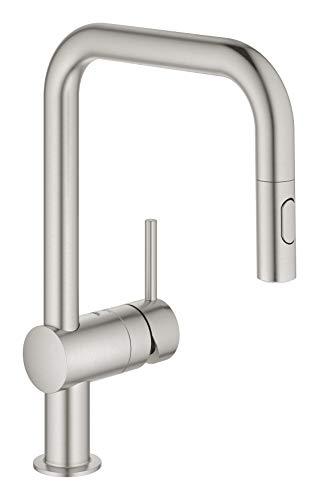 Grohe Miscelatore Monocomando per Lavello, Grigio (Super Steel), Bocca U 32322DC2