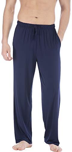 Pantalones de pijama para hombre, de punto de bambú, para dormir, informal, para salón, Azul marino, Large