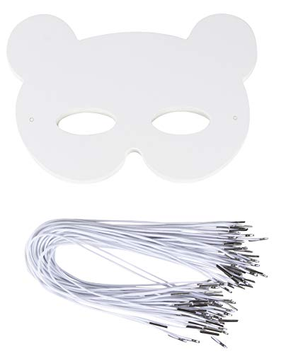 DIY Masker - 48-Pack Blank Maskerade Masker voor Halloween Kostuum Party, Bear Design, 250 GSM, 8.25 x 7.5 Inches