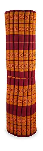 Kapok Rollmatte der Marke Asia Wohnstudio, 200cm (Länge) x 145cm (Breite) x 4,5cm (Höhe), Thailändische Rollmatte, Entspannungsmatte, Yogamatte, Pilates, Rollmatratze (rot/gelb)