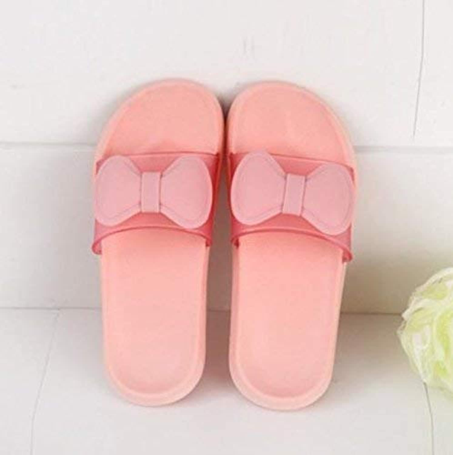 Lady Slippers Home Indoor Slippers Ladies Slip Bath Slippers Pink bluee Green Slipper Soild color Personality Bow Quality