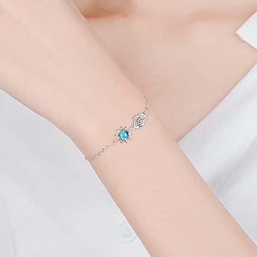 DJMJHG Pulsera de Plata 925, joyería de Moda para Mujer, Pulsera de Nubes de Estrella Azul de Cristal para Mujeres, Accesorios de cumpleaños para niñas