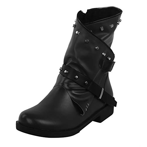 Transwen - Botas de Moto para Mujer, Cortas, para Hombre y Mujer, de Piel, cómodas, Unisex, Tallas Grandes, Color Negro, 35-43, Color Negro, Talla 35 EU