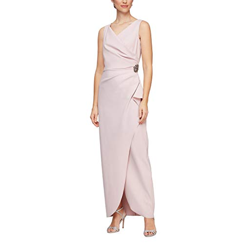 Alex Evenings Women's Petite Slimming Long Side Ruched Dress with Cascade Ruffle Skirt, Blush, 8P (Apparel)